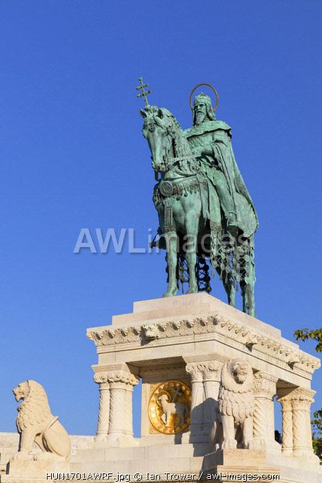 Statue of St Istvan at Fisherman's Bastion, Budapest, Hungary