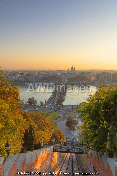 Chain Bridge (Szechenyi Bridge) and Buda Castle Funicular, Budapest, Hungary