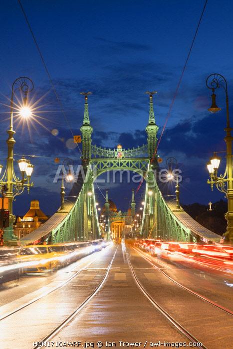 Szabadsag Bridge at dusk, Budapest, Hungary