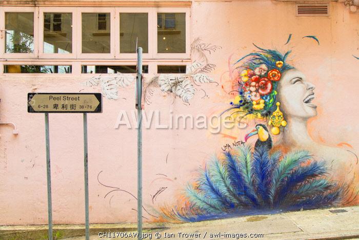 Mural on Peel Street, Soho, Central, Hong Kong Island, Hong Kong, China
