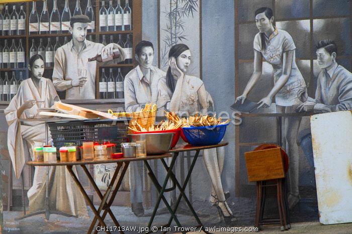 Mural and outdoor food stall, Elgin Street, Soho, Central, Hong Kong Island, Hong Kong, China