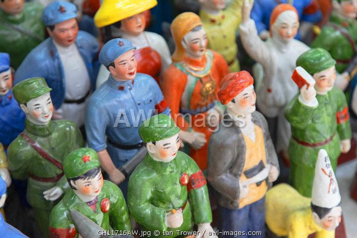 Communist model souvenirs at Cat Street anitques market, Sheung Wan, Hong Kong Island, Hong Kong, China