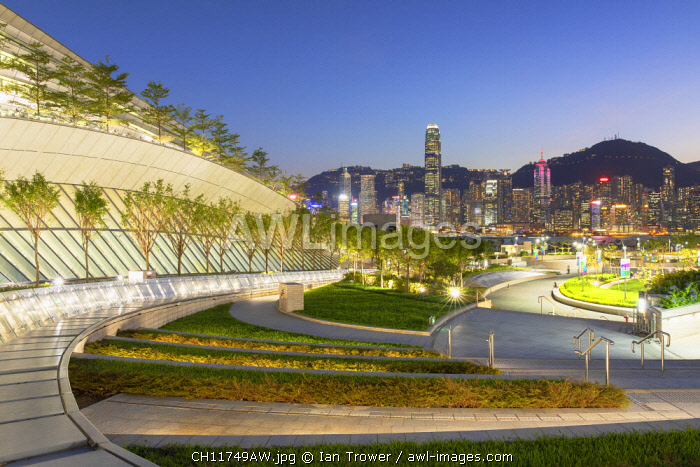 West Kowloon High Speed Rail Station and skyline at dusk, Kowloon, Hong Kong