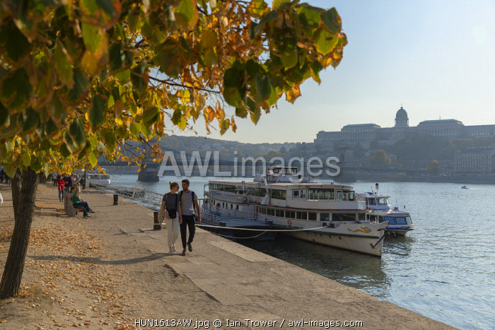 People walking along River Danube, Budapest, Hungary