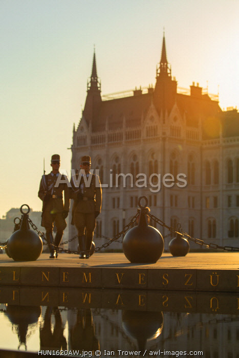 Soldiers on duty outside Hungarian Parliament Building, Budapest, Hungary