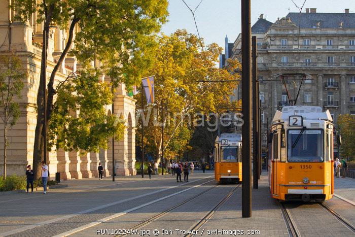 Trams in Kossuth Lajos Square, Budapest, Hungary