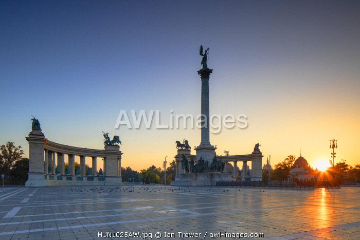 Heroes' Square at sunrise, Budapest, Hungary