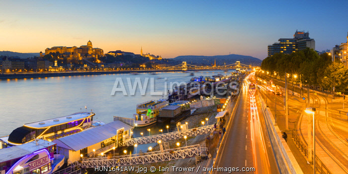 Buda Castle and River Danube at dusk, Budapest, Hungary
