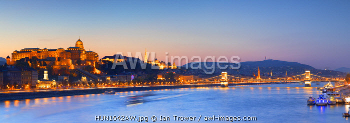 awl-images.com - Hungary / Buda Castle, Chain Bridge and River Danube at dusk, Budapest, Hungary