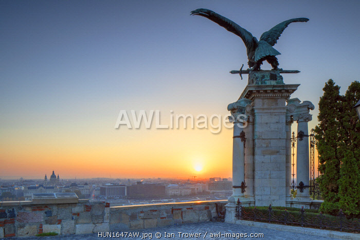 View of Budapest from Buda Castle at sunrise, Budapest, Hungary