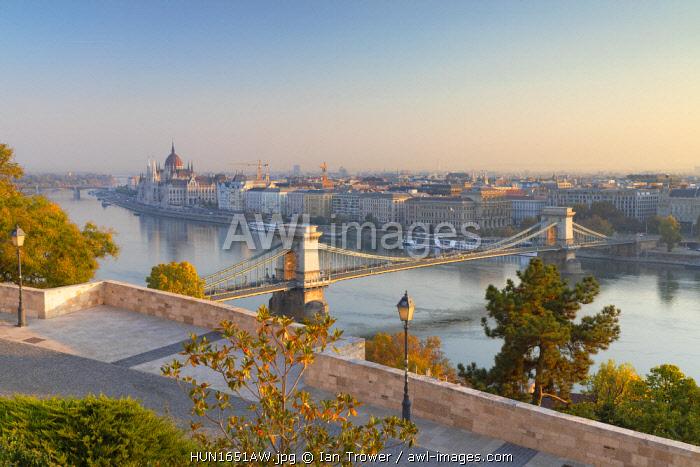 Chain Bridge (Szechenyi Bridge) and Parliament Building from Buda Castle, Budapest, Hungary