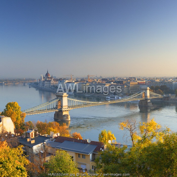 View of Chain Bridge (Szechenyi Bridge) and River Danube, Budapest, Hungary