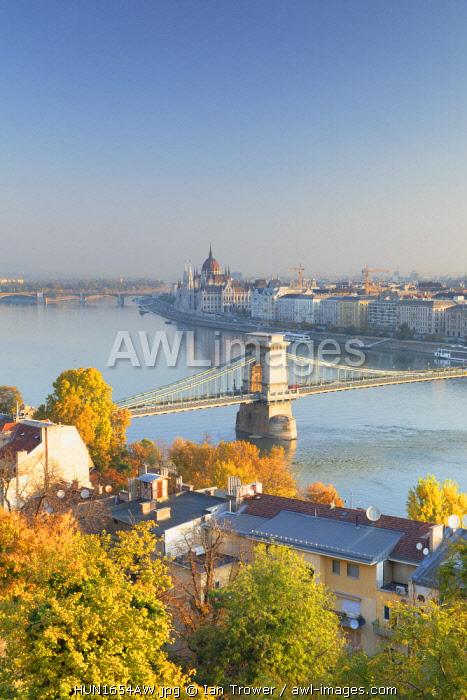 Chain Bridge (Szechenyi Bridge) and Parliament Building, Budapest, Hungary