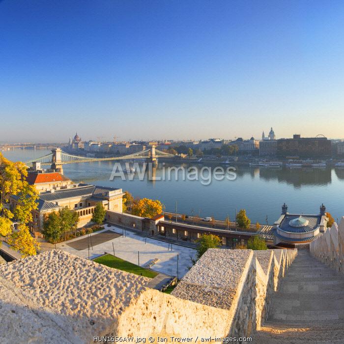 View of Chain Bridge (Szechenyi Bridge) and River Danube, Budapest, Hungary
