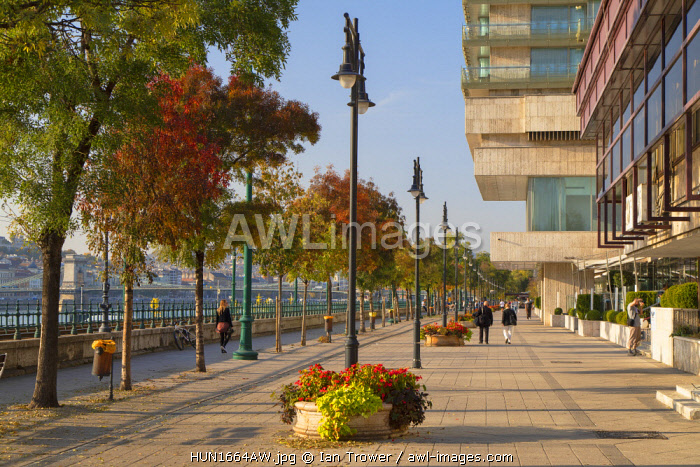 People walking along Danube Promenade, Budapest, Hungary