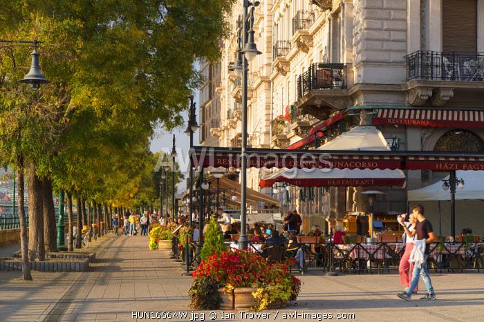 Outdoor restaurants on Danube Promenade, Budapest, Hungary