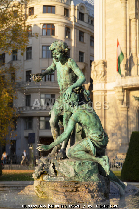 Statue of fountain in Vigado Square, Budapest, Hungary