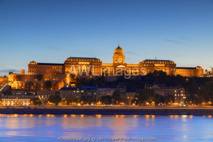 Buda Castle at dusk, Budapest, Hungary