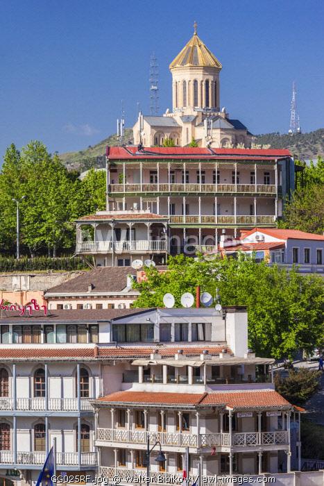 Georgia, Tbilisi, Avlabari, town buildings with Tsminda Sameba Cathedral