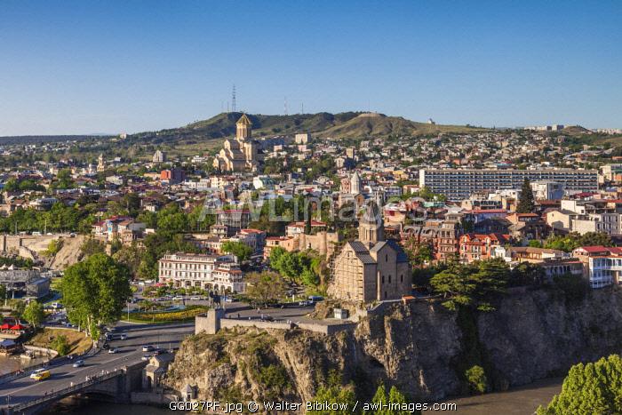 Georgia, Tbilisi, Tsminda Sameba Cathedral and Metekhi Church