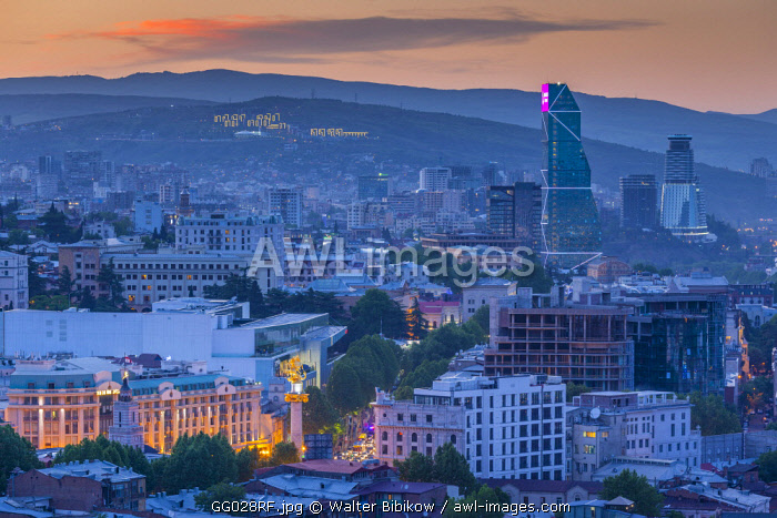 Georgia, Tbilisi, Narikala Fortress, high angle city skyline