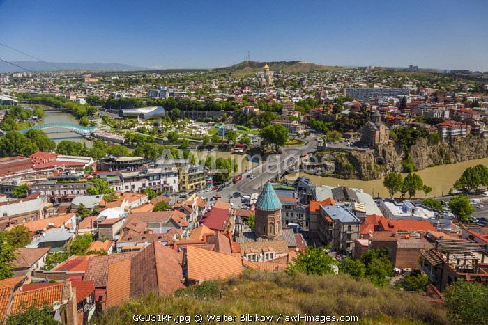 Georgia, Tbilisi, high angle city skyline from Narikala Fortress