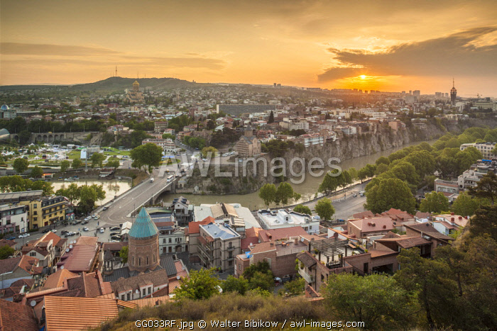 Georgia, Tbilisi, high angle city skyline, sunrise