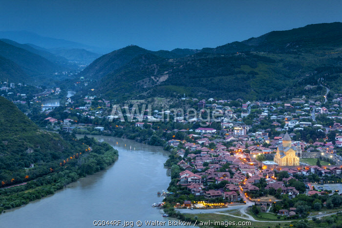 Georgia, Mtskheta, spiritual town where Christianity was established in 327AD, high angle view of town and Svetitskhoveli Cathedral
