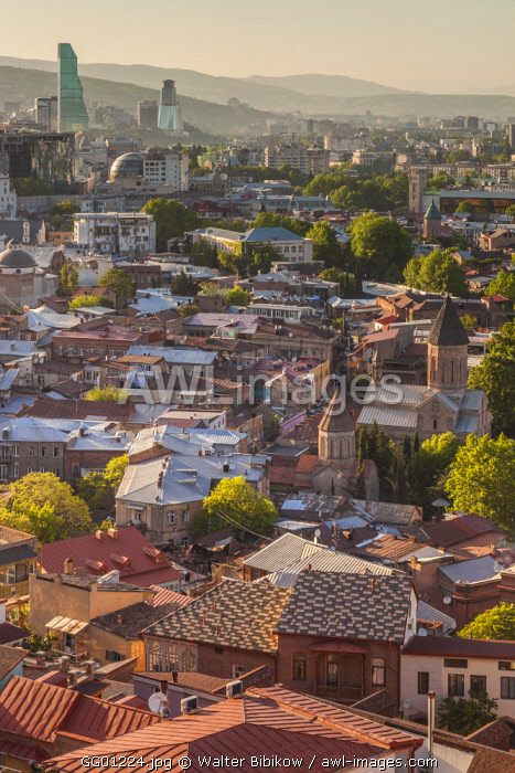 Georgia, Tbilisi, Old Town, elevated view from Narikala Fortress