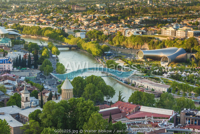 Georgia, Tbilisi, high angle view of city skyline from Narikala Fortress
