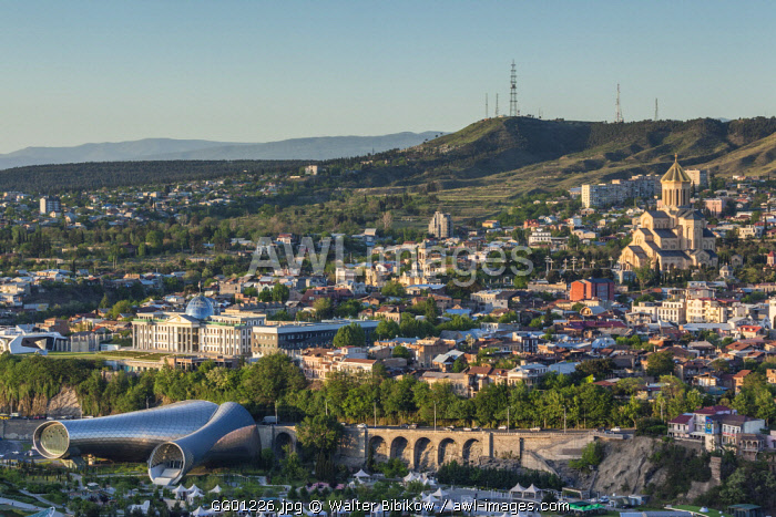 Georgia, Tbilisi, Presidential Palace, Isminda Sameba Cathedral, and Concert Hall