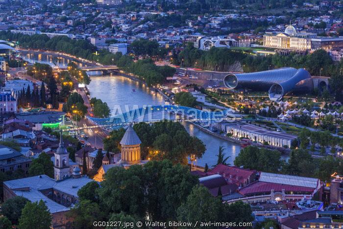 Georgia, Tbilisi, Narikala Fortress, high angle city skyline