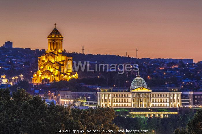 Georgia, Tbilisi, Tsminda Sameba Cathedral and Presidential Palace