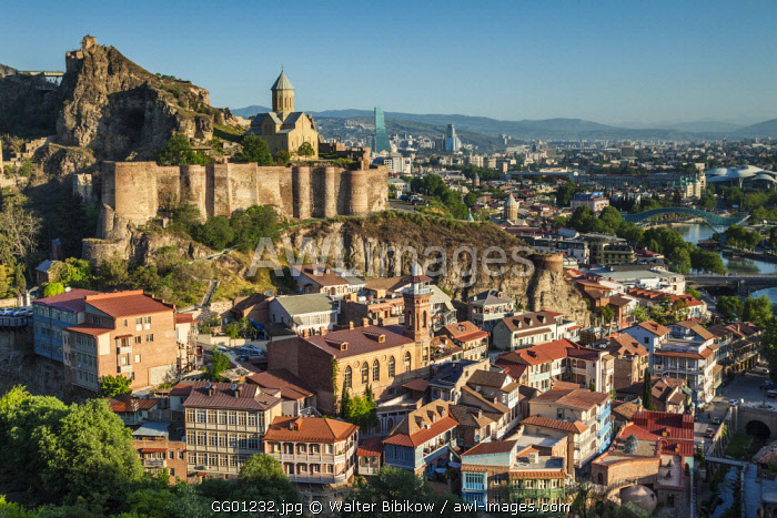 Georgia, Tbilisi, Old Town, Muslim Quarter, Tbilisi Mosque and Narikala Fortress
