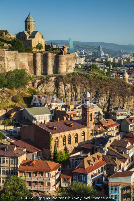 Georgia, Tbilisi, Old Town, Muslim Quarter, Tbilisi Mosque and Narikala Fortress