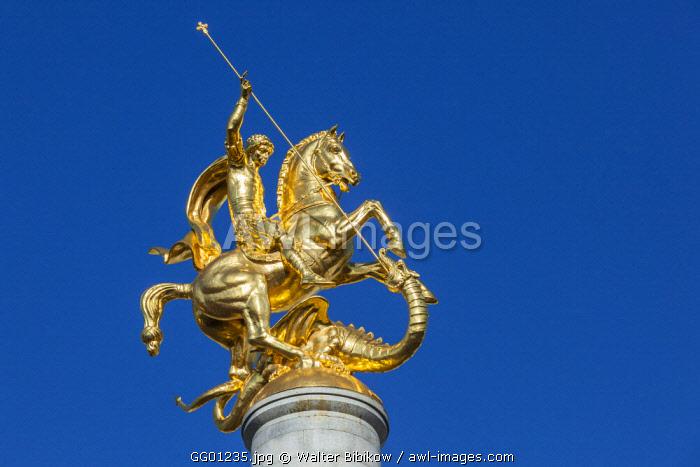 Georgia, Tbilisi, Liberty Square, St. Geroge and Dragon Column