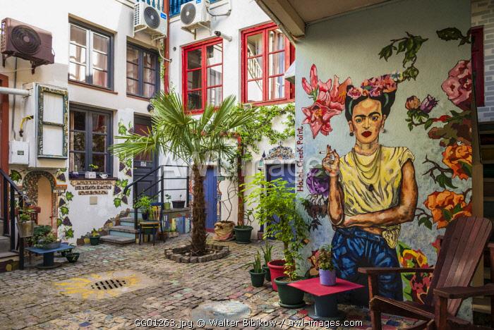Georgia, Tbilisi, Old Town, Hotel Check Point, Frida Kahlo wall art