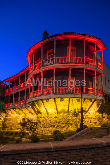 Georgia, Tbilisi, lighted sections of old city wall