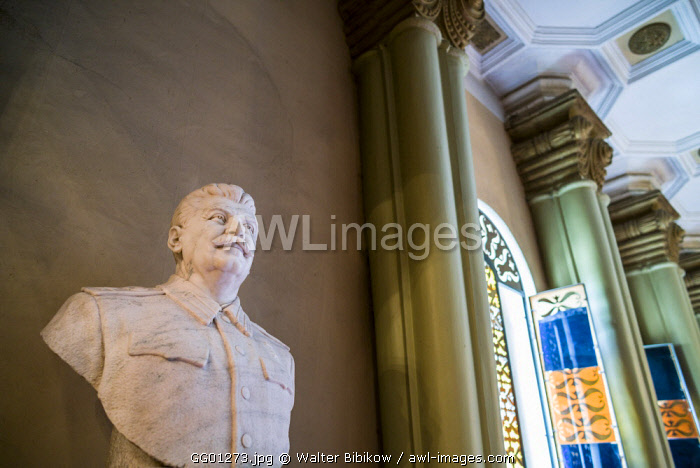 Georgia, Gori, Stalin Museum dedicated to former Soviet dictator Joseph Stalin, bust of Stalin
