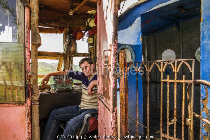 Georgia, Chiatura, mining town cable car operator