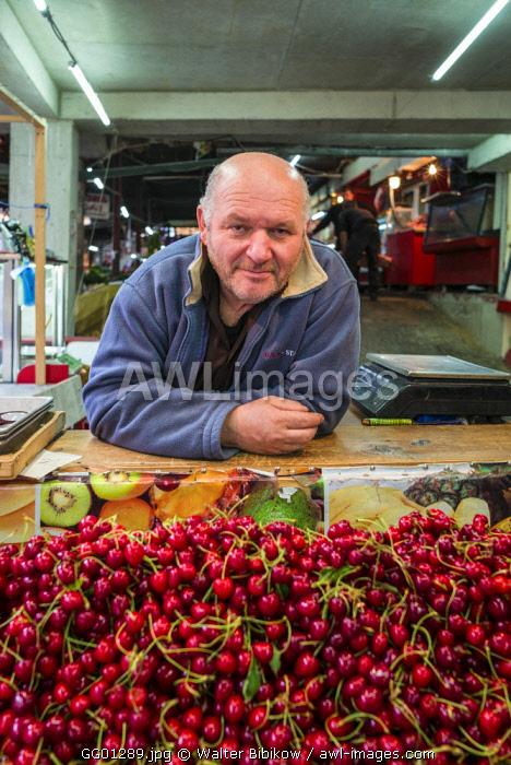 Georgia, Kutaisi, Kutaisi Market, cherry vendor