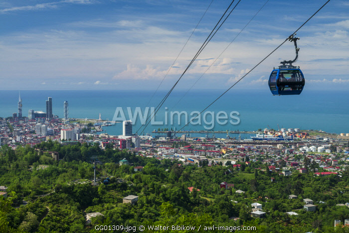 Georgia, Batumi, Anuria Mountain, Argo Cable Car and city skyline