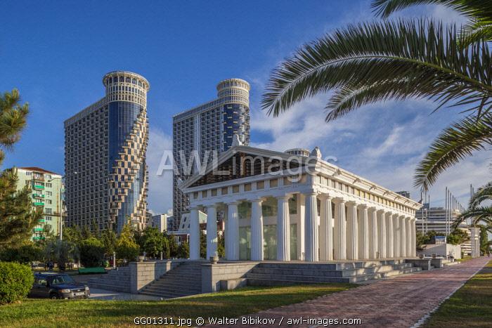 Georgia, Batumi, Batumi Boulevard, seaside promenade, mock Parthenon building