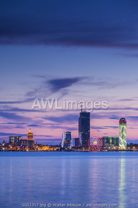 Georgia, Batumi, city skyline from the Black Sea