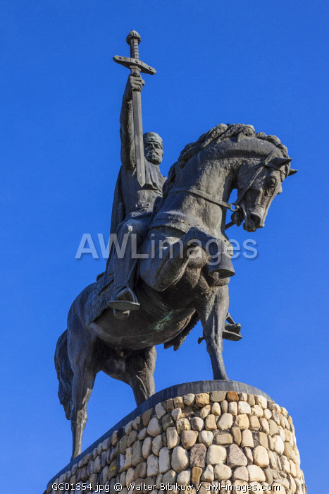 Georgia, Kakheti Area, Telavi, statue of King Erekle II