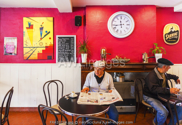 France. Nouvelle Aquitaine. Oloron Sainte Marie. One of the typical bars in town.