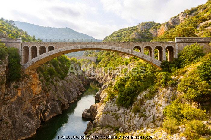 France, Occitanie. The modern bridge from the Pont du Diable in the region of Saint Guilhem le Desert.