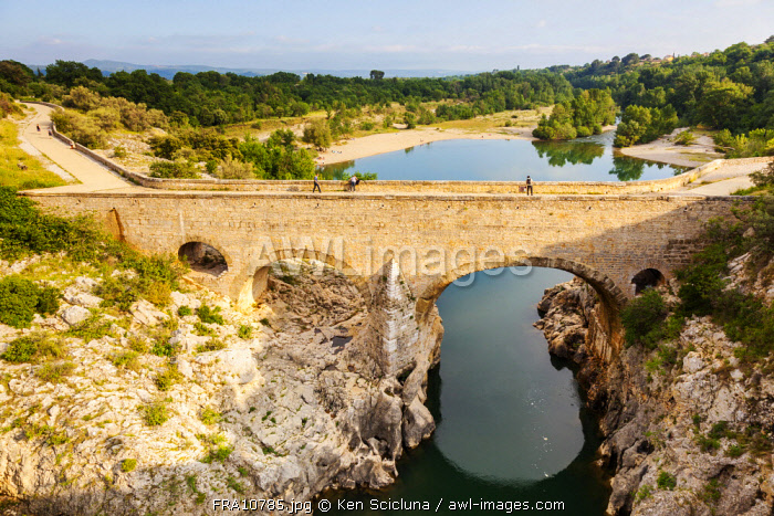 France, Occitanie. The Pont du Diable in the region of Saint Guilhem le Desert.
