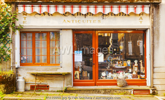 France, Loire Valley, Angles. An Antiques Delear s shop in the small village of Anglais on the Via Tolosana towards Santiago de Compostela.