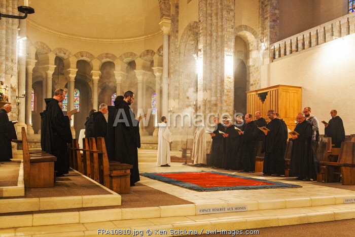 France, Midi Pyrenees, Dourgne. Benedictine Monks following the strict Benedictine rule singing the evening vespers at the Abbaye d En Calcat on the Via Tolosana towards Santiago de Compostela.